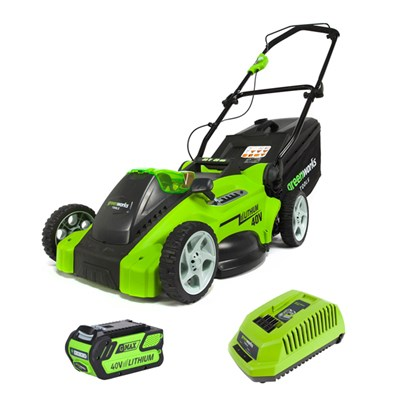 Greenworks 40cm 40V Cordless Lawn Mower with Battery and Charger