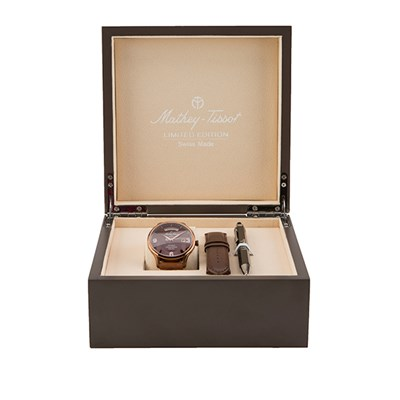 Mathey-Tissot LE ETA 2834 Nickel Dore Edmond Watch with Display Box and Pen