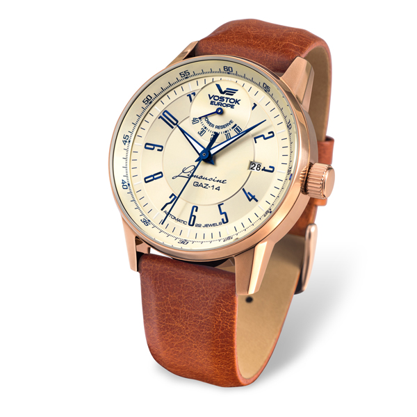 Image of Vostok Europe Gent's Automatic GAZ-14 with PVD Plated Stainless Steel Case and Genuine Leather Strap