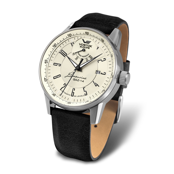 Vostok Europe Gent's Automatic GAZ-14 with Stainless Steel Case and Genuine Leather Strap Cream