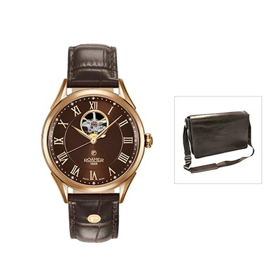 Roamer of Switzerland Swiss Automatic Watch with FREE Leather Messenger Bag