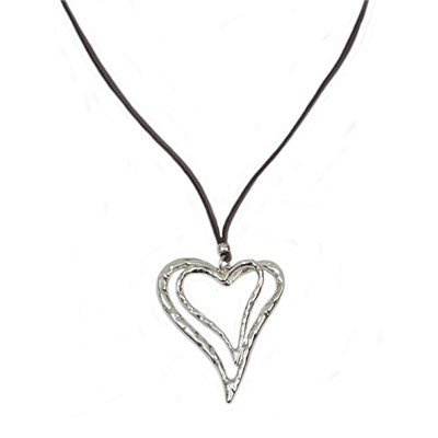 Silver Effect Double Heart Cord Necklace