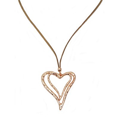 Gold Effect Double Heart Cord Necklace