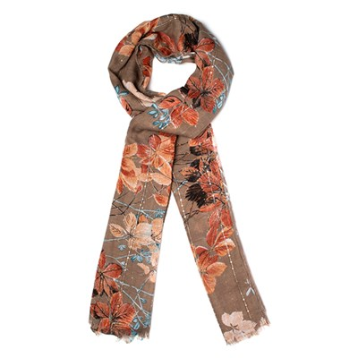 Sequin Floral Print Scarf