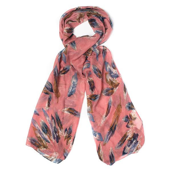 Feather Print Scarf Pink
