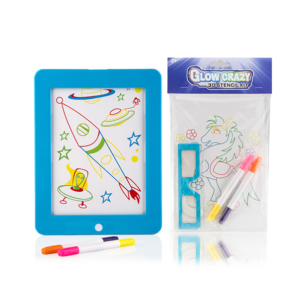 Glow Crazy Light Up Creative Board with Stencil Kit Blue