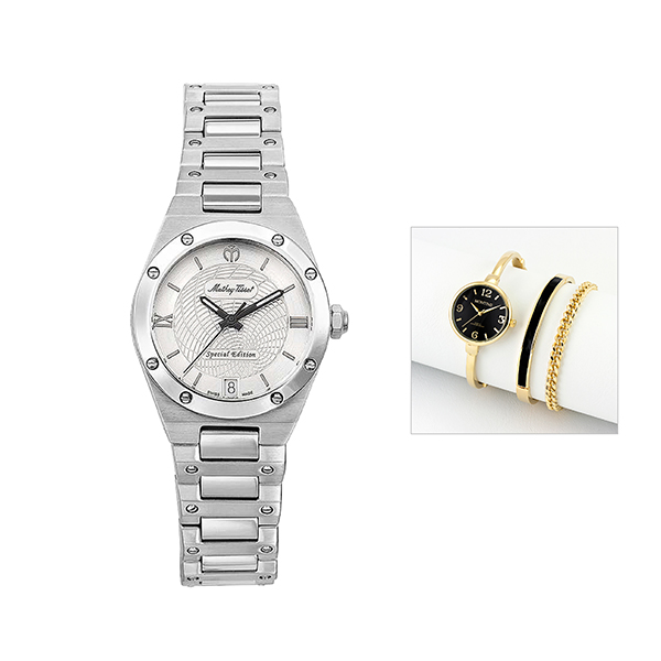 Mathey-Tissot Ladies' Elisir LE with Case and FREE Ladies' Watch Silver