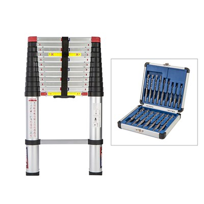 Spear and Jackson 3.8m Telescopic Ladder with FREE 16pc Drill All Drill Bits