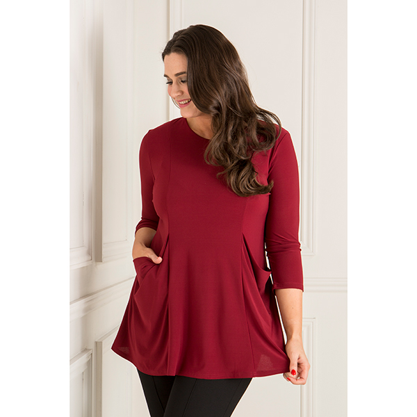 Nicole Drape Pocket Fit and Flare Top Wine