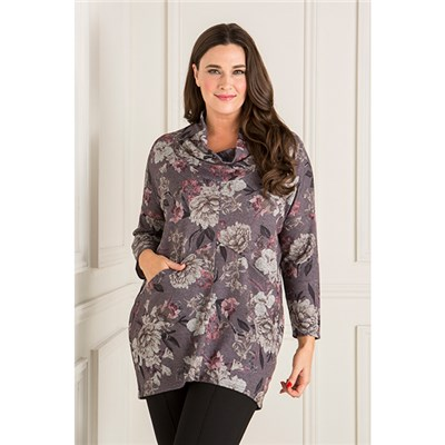 Nicole Printed Cowl Neck Top with Pockets