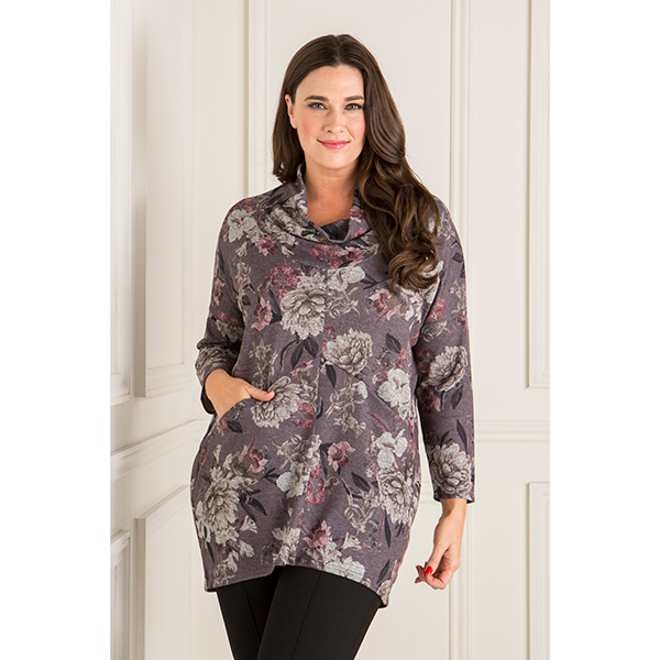 Nicole Printed Cowl Neck Top with Pockets Violet