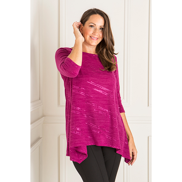 Reflections Sequin Dip Hem Tunic Cerise