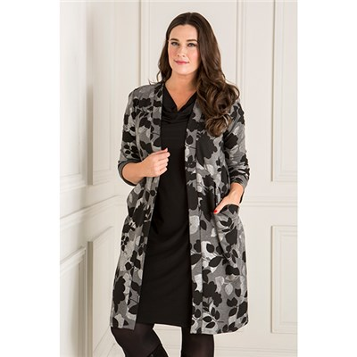 Nicole Printed Ponte Longline Jacket with Pockets