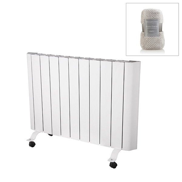 EEPC 1500w Ceramic Radiator with Smart Control and Large Grey Deluxe Throw No Colour