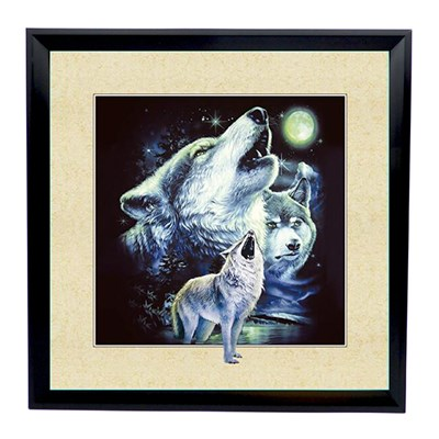 Howling Wolves 5D Illusion Framed Art 40cm x 40cm
