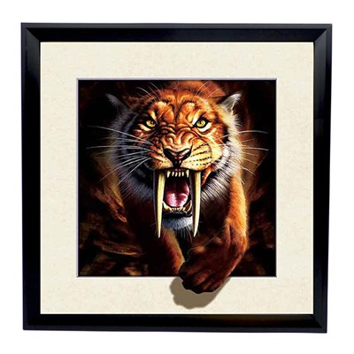 Sabre Tooth Tiger 5D Illusion Framed Art 40cm x 40cm