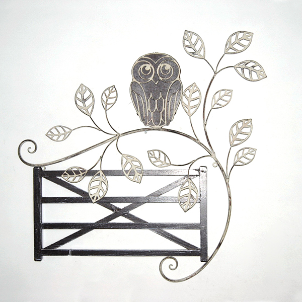 Owl and Fence Metal Wall Art 64cm x 63cm No Colour