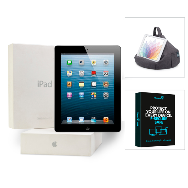 Apple iPad 3 64GB 3G (Certified Refurbished), iBeani Beanbag Stand, F-Secure Slate/Grey
