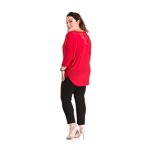 Just Be You Batwing Lace Panel Top