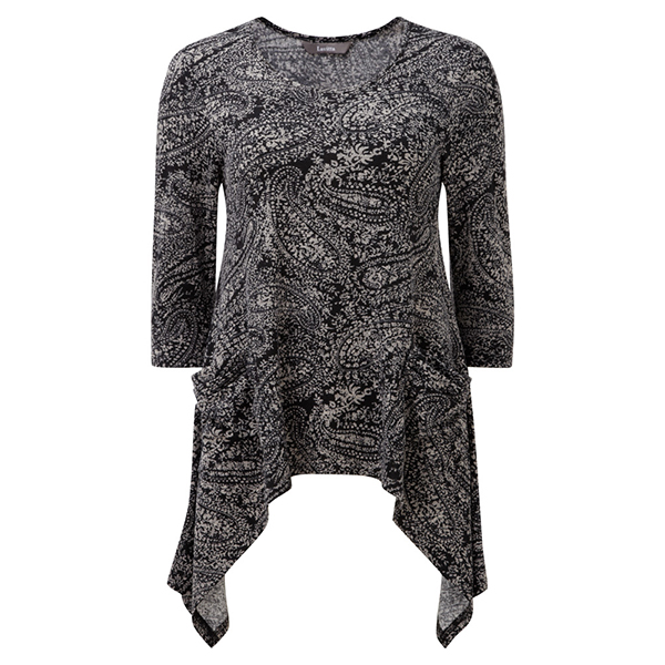 Lavitta Paisley Print Hanky Hem Top 26in Grey