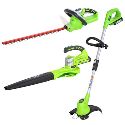 Greenworks 24 Volt Triple Pack - Line Trimmer, Hedge Cutter, Garden Blower with 2 Batteries and a Charger