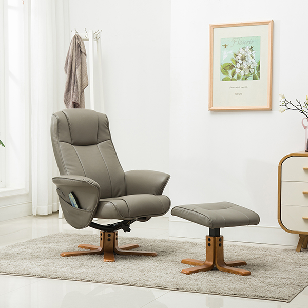 Monaco Swivel Recliner and Stool with Heat and Massage Grey