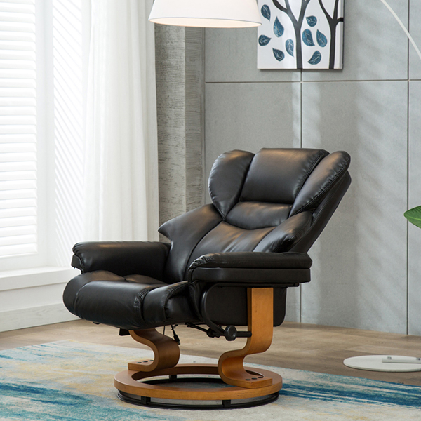 Milano Swivel Recliner Chair With Heat Massage And Stool