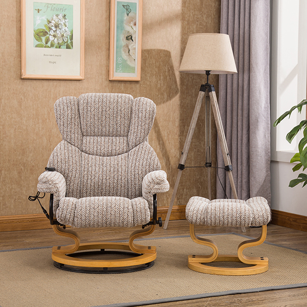 Milano Swivel Recliner Chair with Heat, Massage and Stool Wheat