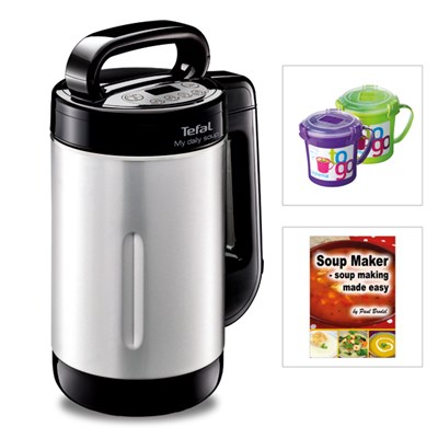 Tefal My Daily Soup Maker with 2 Soup To Go Mugs and Soup Maker Recipe Book