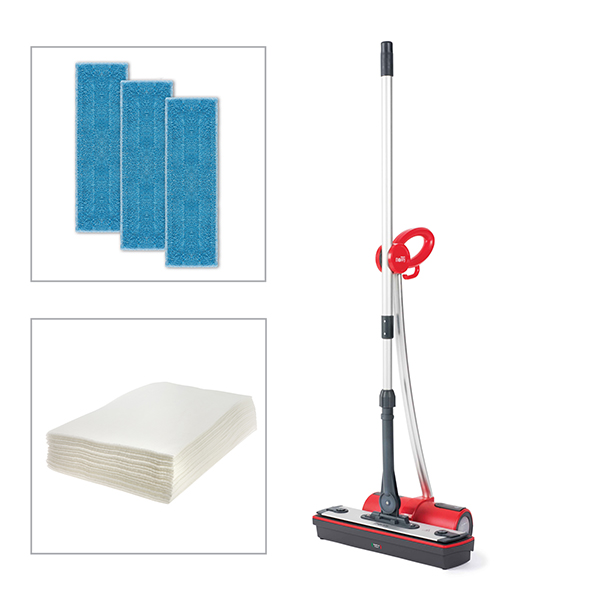 Polti Moppy Cordless Steam Cleaner Pro with 5 Microfibre Floor Cloths and 20 Electrostatic Cloths Red