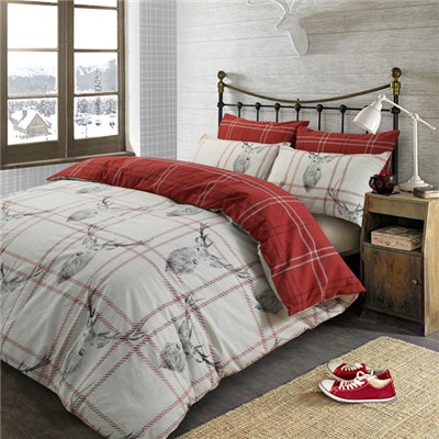 Check Stag Single Size Quilt Set
