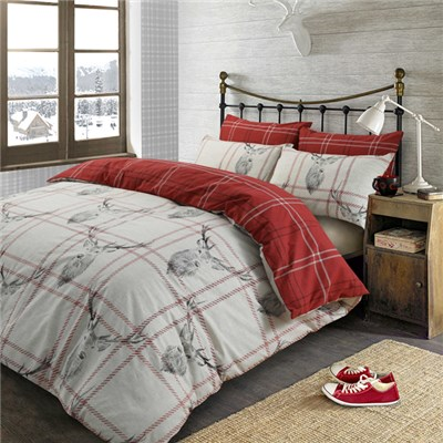 Check Stag King Size Quilt Set