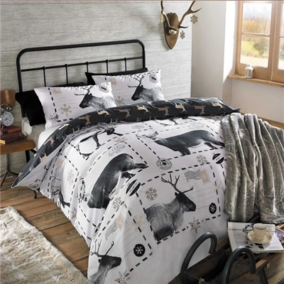 Reindeer Postcard King Size Quilt Set