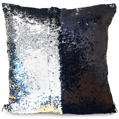 Black and Silver Sequin Cushion 40 x 40cm