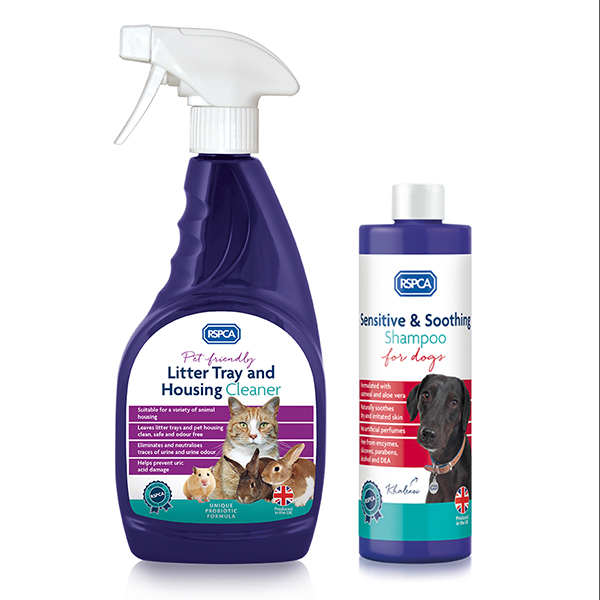 RSPCA Sensitive Shampoo plus Litter Tray and Pet Housing Cleaner No Colour