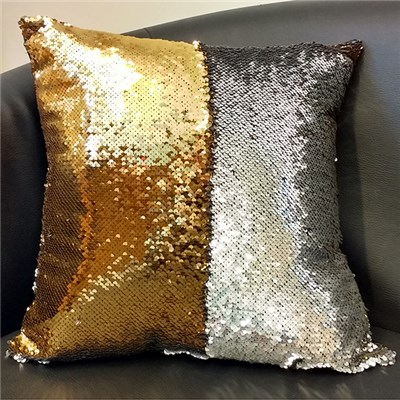 Silver and Gold Sequin Cushion 40 x 40cm