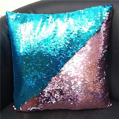 Blue and Pink Sequin Cushion 40 x 40cm