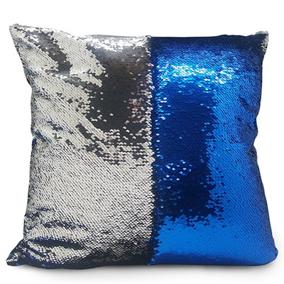 Blue and Silver Sequin Cushion 40 x 40cm