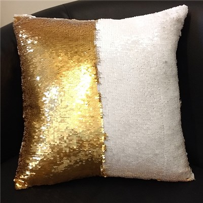 Gold and White Sequin Cushion 40 x 40cm