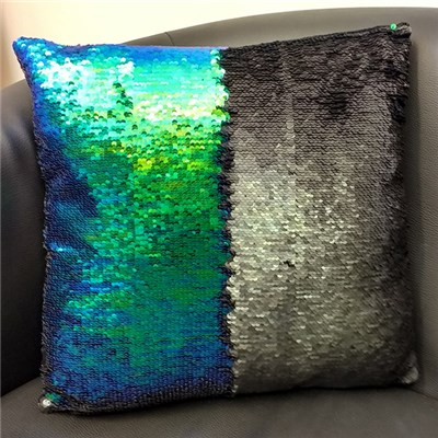 Blue and Green Sequin Cushion 40 x 40cm