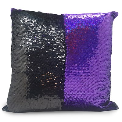 Black and Purple Sequin Cushion 40 x 40cm