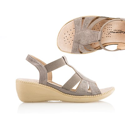 Cushion Walk Comfort Diamante Wedge Sandal