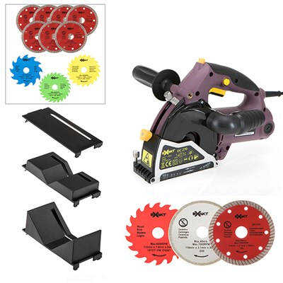 Exakt Deep Cut Plunge Saw with Pipe/Protector Attachments, 13 Extra Blades