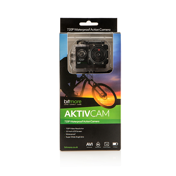 Bitmore Aktiv Cam HD Action Camera with Waterproof case, Bike Mount, Helmet Mount, Adhesive Mounts, Velcro Straps, Charging Cable No Colour
