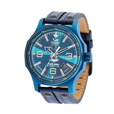 Vostok Europe Gents Automatic Radio Room Watch with PVD Plated Case and Genuine Leather Strap