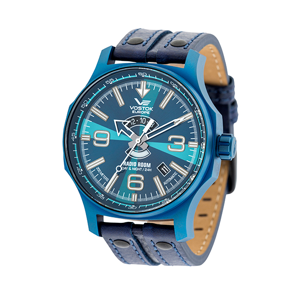 Vostok Europe Gent's Automatic Radio Room Watch with PVD Plated Case and Genuine Leather Strap Blue