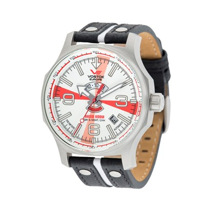 Vostok Europe Gent's Automatic Radio Room Watch with Genuine Leather Strap