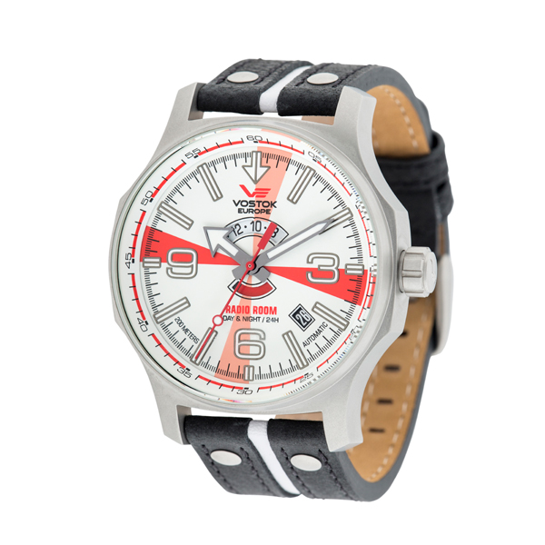 Vostok Europe Gent's Automatic Radio Room Watch with Genuine Leather Strap White/Red