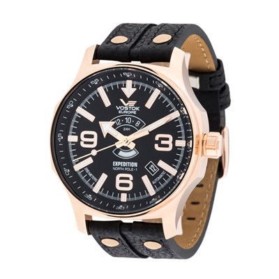 Vostok Europe Gent's Automatic Expedition N1 Watch with PVD Plated Case, Genuine Leather Strap