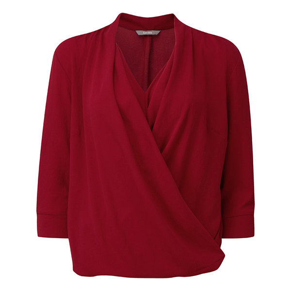 Lavitta Crepe Georgette Wrap Blouse 24.5in Red